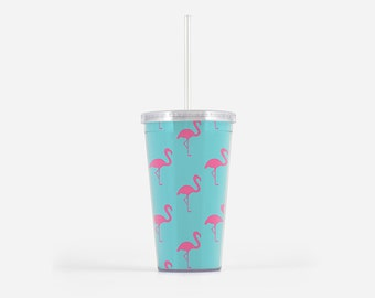 Pink Flamingo Tumbler, 16oz, Drinkwear, Gifts for Her, Tumbler with Straw, Travel Tumbler, Palm Beach, Tropical, Turquoise and Pink