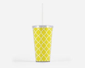 Happy Yellow Tumbler with Straw