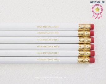 Personalized Pencils, Custom Pencils, Gold Foil Pencils, Quote Pencils, White Pencils, Bridesmaids, Branding, Photography, Best Sellers
