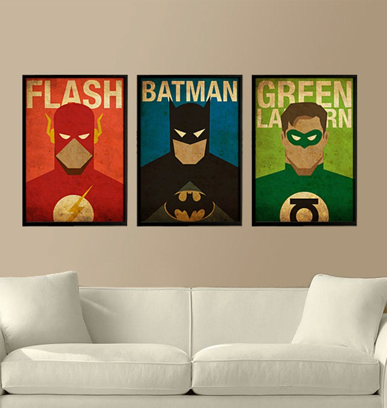 Fine Superhelden Flash Batman En Green Lantern Set Van 3 Posters Evergreenethics Interior Chair Design Evergreenethicsorg