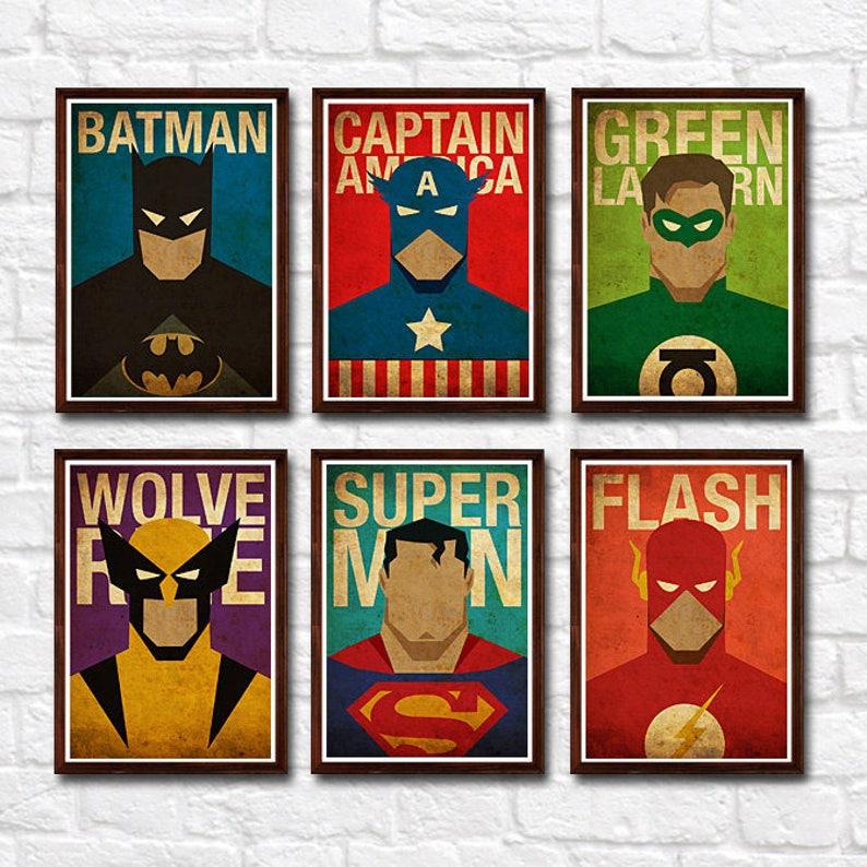ca76cb9a47c Minimalist Superheroes Vintage Poster Set of 6 Prints