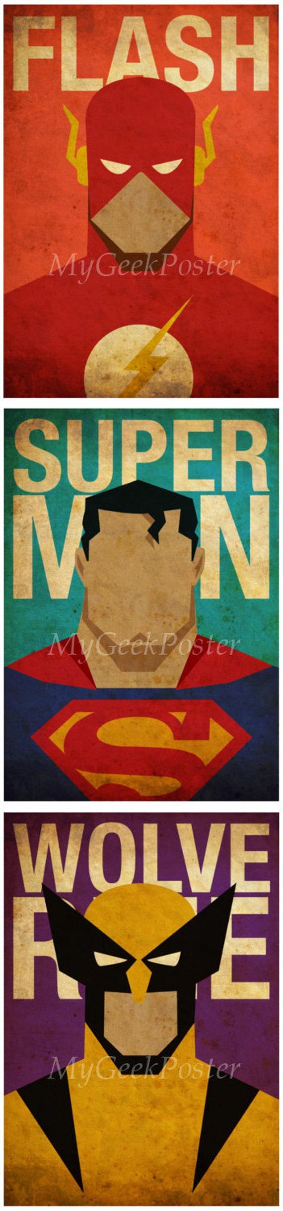 Series 2 Minimalist Superheroes Vintage Poster Set of 6 Prints