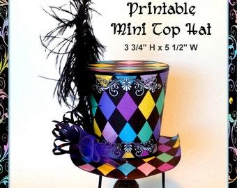 Alice In Wonderland Mini Top Hat Harlequin For Dogs Or People PRINTABLE Mad Hatter DIY Mardi Gras