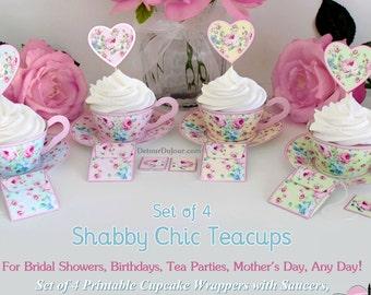Set of 4  Paper Tea Cup Printable Cupcake Wrappers, Printable Cupcake Holders, Teacup Cupcake Wrappers, DIY Cupcake Wraps SCset-001