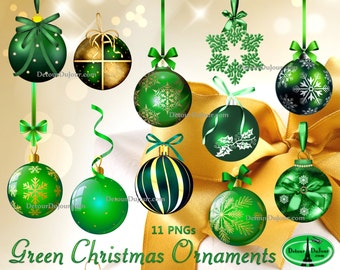 Green Christmas Clipart Ornaments Digital Tree Ornament Clip Art Balls Greeting Card Images