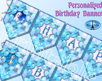 Frozen Birthday Banner Party Personalized Printable Free Bonus Let It Go