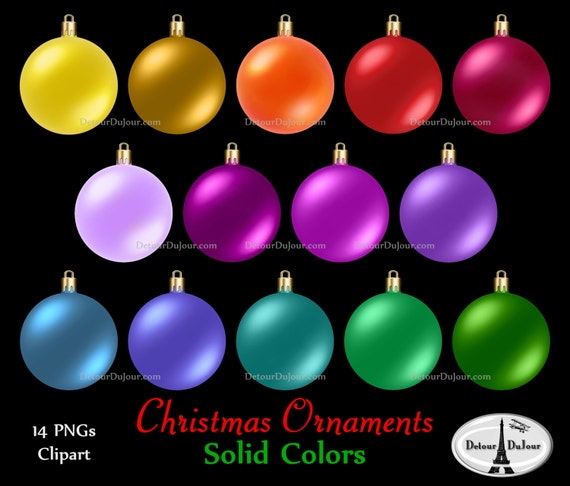 image 0 - 14 Assorted Christmas Ornaments Clipart Plain Christmas Etsy