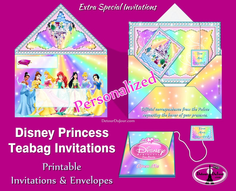 image relating to Disney Printable Envelopes identified as Disney Princess Social gathering Invites Custom made Disney Princess Birthday Occasion Invitations Disney Princess Tea Get together Teabag Invites Envelopes