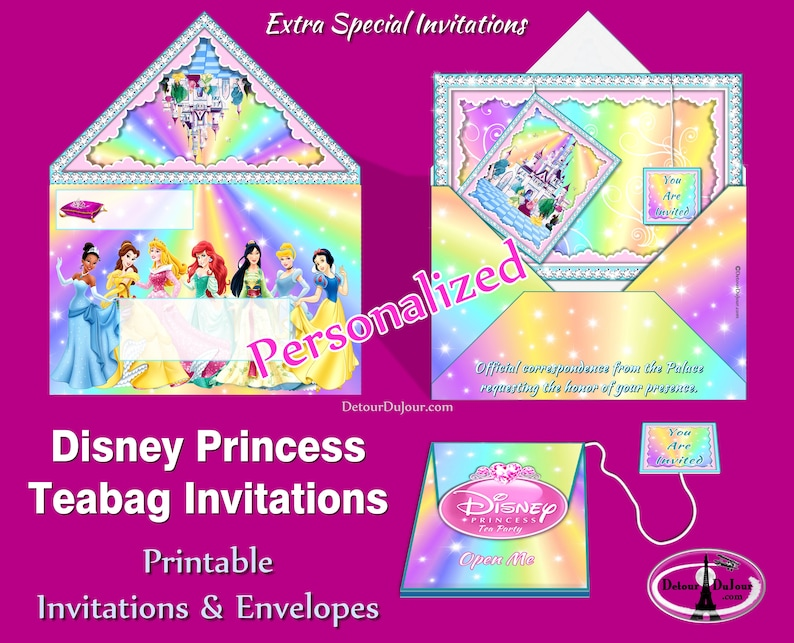 Disney Princess Party Invitations Personalized Birthday Invites Tea Teabag Envelopes