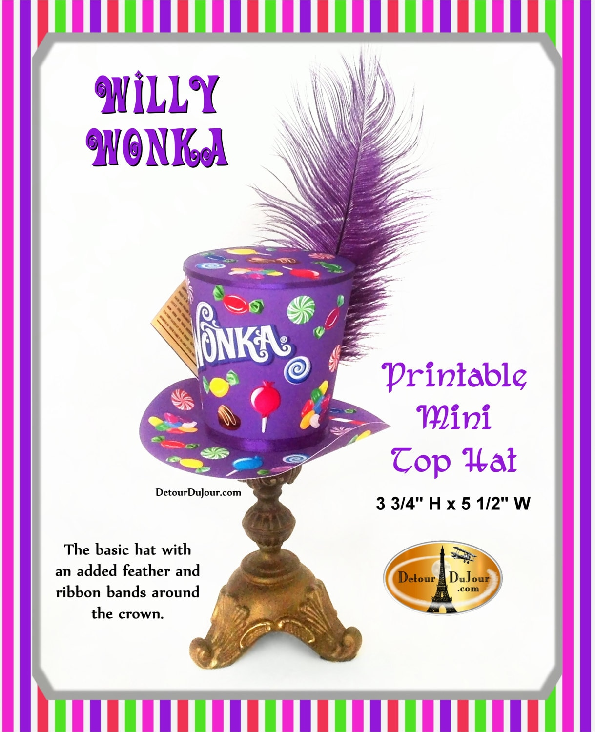 Willy Wonka Top Hat Printable Willy Wonka Birthday Party Hat | Etsy
