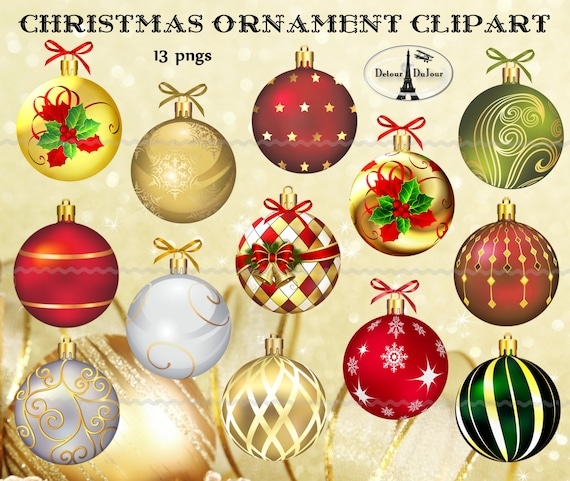 Digital Download 13 Christmas Ornaments Elegant Christmas Ornament Clipart Scrapbooking Christmas Clip Art