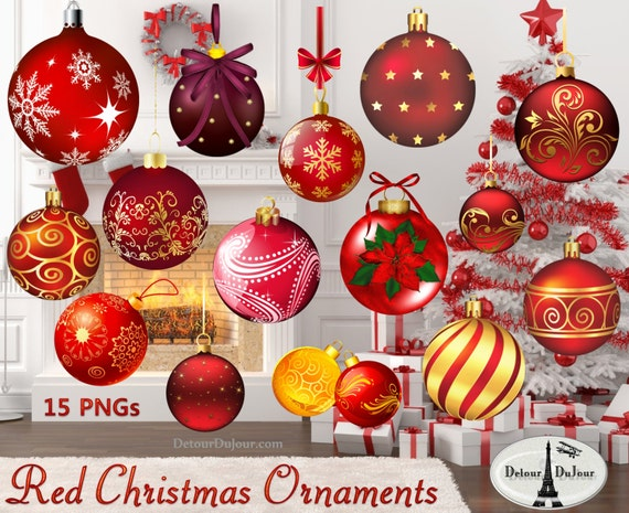 Printable Christmas Ornaments.10 Printable Christmas Ornaments Red Ornament Clipart Christmas Scrapbooking Realistic Christmas Ornament Clipart Holiday Clip Art