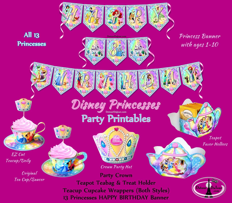 All 13 Disney Princesses Birthday Banner Disney Princess | Etsy