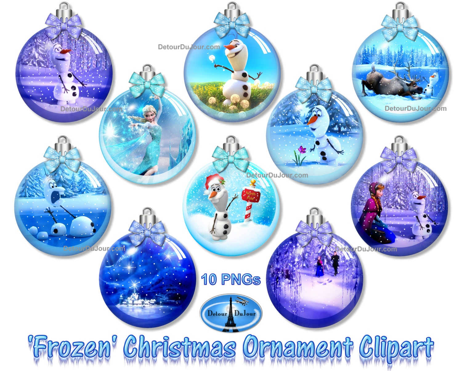 10 FROZEN Clipart Ornaments Olaf Christmas Ornament Clipart | Etsy