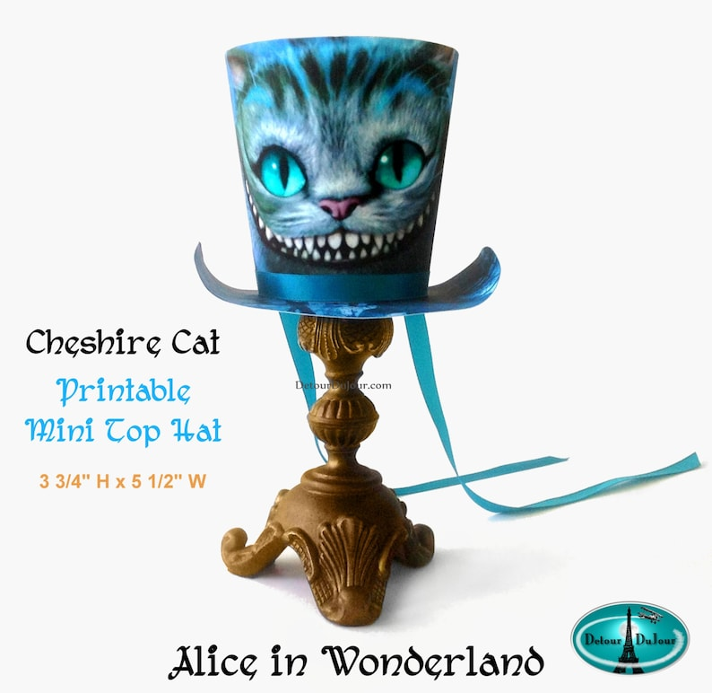 Alice In Wonderland Printable Mad Hatter Top Hat Cheshire Etsy
