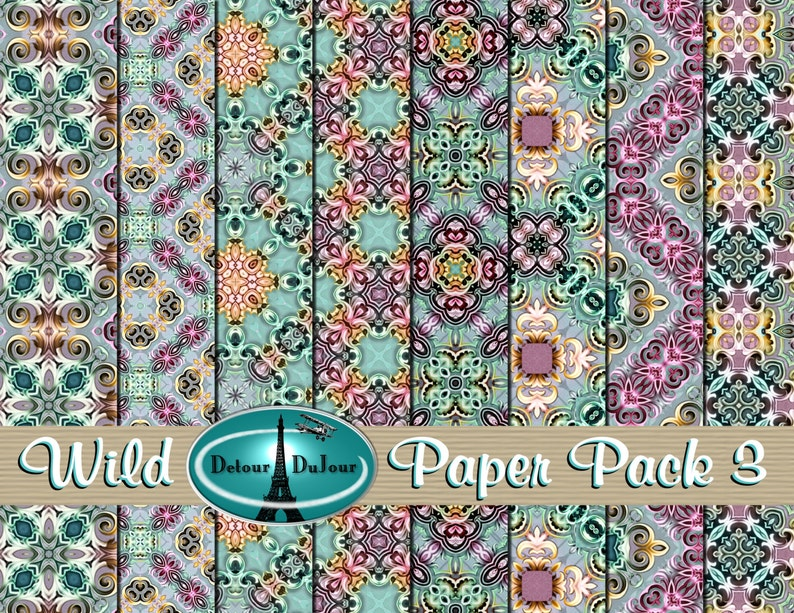 image about Printable Oragami Paper identified as Printable Origami Paper, 12 x 12 Kaleidoscope Paper Pack, Sbooking Papers, Mosaic Electronic Paper Pack, Wild Structure Historical past Sheets