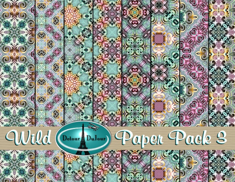 photograph about Printable Origami Paper identified as Printable Origami Paper, 12 x 12 Kaleidoscope Paper Pack, Sbooking Papers, Mosaic Electronic Paper Pack, Wild Structure History Sheets