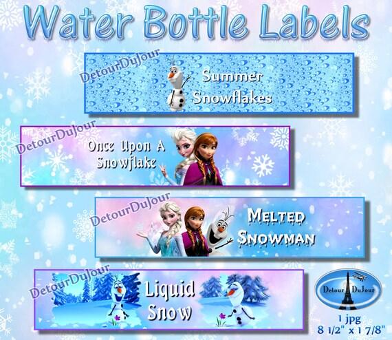Frozen Water Bottle Labels Set Of 4 Frozen Water Bottle Etsy