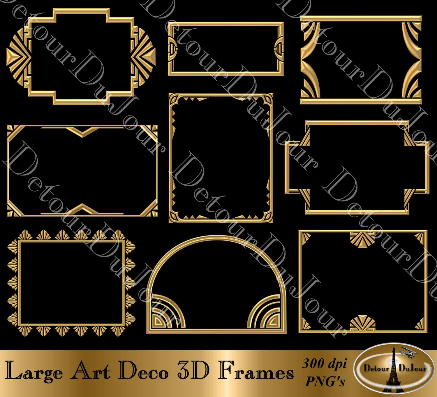 Digital Art-Deco-Rahmen Art-Deco-Grenzen Art-Deco-Clipart 9 | Etsy