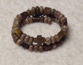 Memory Wire Bracelet ~ Natural Picture Jasper Gemstone Beads with a Natural Picture Jasper Cross