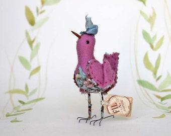Sommer Vogel aus Filz mit Schleife