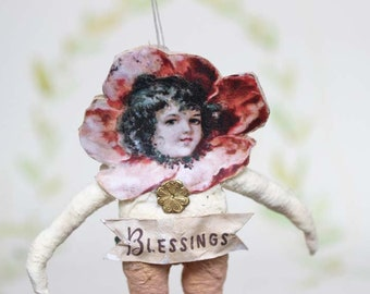 Blumenkind Nostalgischer Christbaumschmuck Wattefigur Ornament Spun Cotton