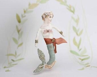 AUFTRAGSARBEIT ++  Meerjungfrau Nostalgischer Christbaumschmuck Wattefigur Ornament Spun Cotton