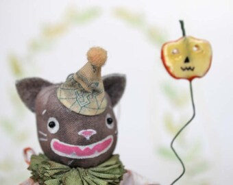 Nostalgische Primitive Folk Art Anhänger Ornament Katze Kater Art Doll