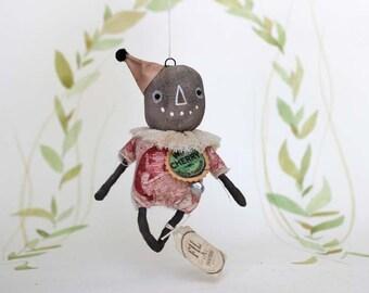 Nostalgische Primitive Folk Art Anhänger Ornament Vogelscheuche Kürbis