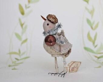 Party Vogel aus Filz mit Mini Glaskugel und Glitzer