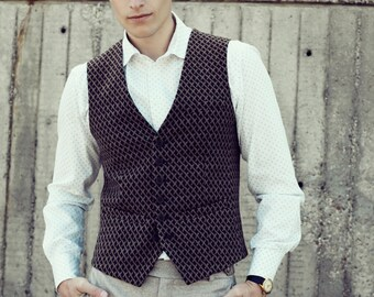 Men's slim vest waistcoat in brown wool blend