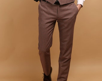 Men's pants in houndstooth wool