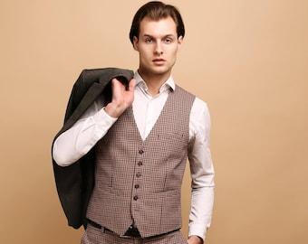 Men's waistcoat vest in houndstooth wool