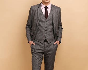 Mens 3 piece suit in grey purple tweed