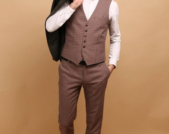 Men's 2 piece pants and waistcoat set in houndstooth wool