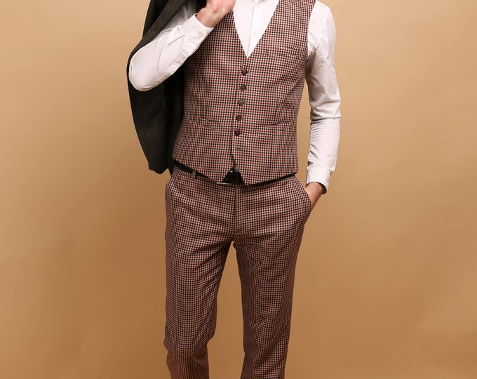Featured listing image: Men's 2 piece pants and waistcoat set in houndstooth wool