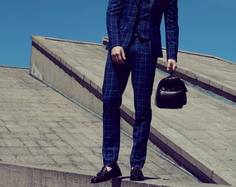 Men's summer pants in blue windowpane checkered wool