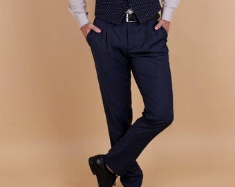 Men's pleated summer smart pants in dark blue merino wool