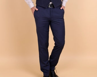 Men's flat front slim pants in blue merino tropical wool