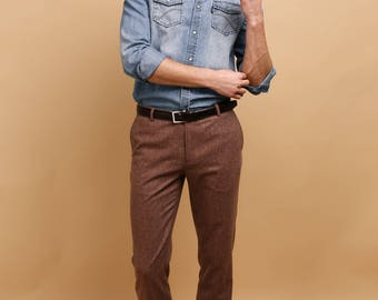 Men's pants in terracotta wool