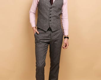 Men's 2 piece waistcoat and pants set in grey purple tweed