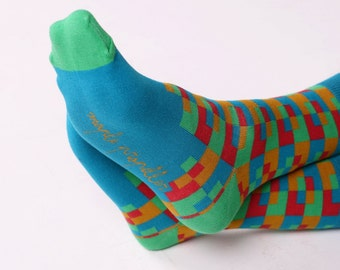 Men's colorful dress socks in teal | squares design