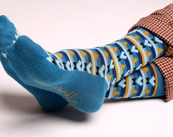 Men's colorful dress socks in blue | Aztec design