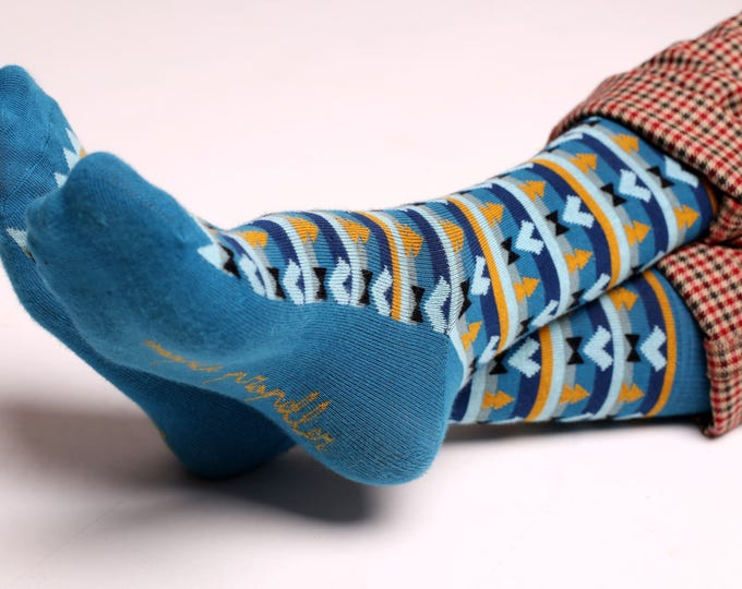Featured listing image: Men's colorful dress socks in blue | Aztec design