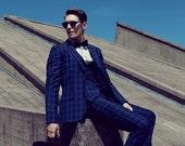 3 piece mens vested wool blue windowpane checkered SUIT | mens wool summer suit vest | check mens suit waistcoat | plaid mens suit trousers