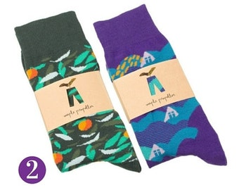 Men's colorful dress socks purple green | 2 PACK