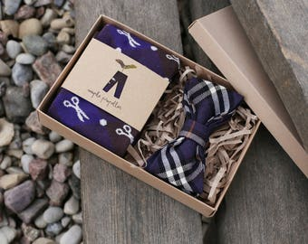 Mens gift dress socks and matching bow tie in purple
