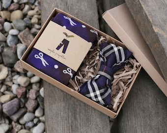 Mens gift dress socks and matching bow tie | deep purple & dark chocolate hues