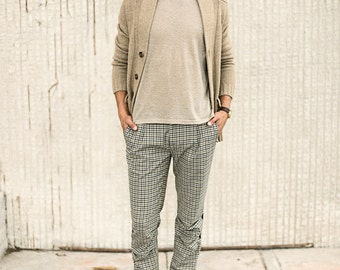 Men's casual pleated pants checkered