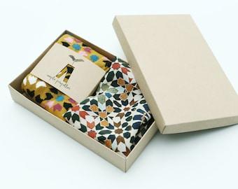 Mens gift pure silk pocket square and matching dress socks | Mediterranean tiles design